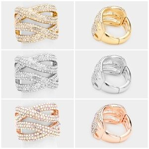 BRAND NEW Crystal Twist Free-Size Rings